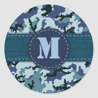 Navy camouflage classic round sticker