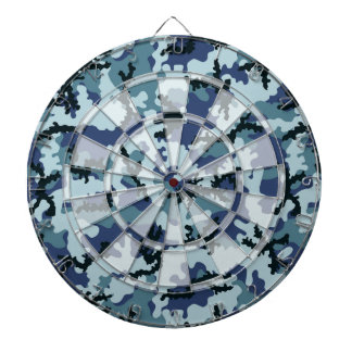 Navy camouflage dartboard with darts
