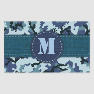 Navy camouflage rectangular sticker