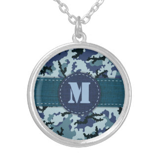 Navy camouflage silver plated necklace