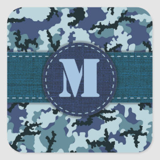 Navy camouflage square sticker