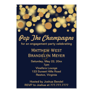 Navy Champagne Bubbles Engagement Party Invitation