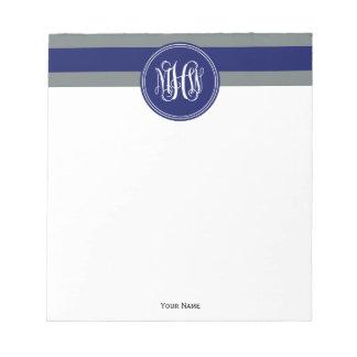 Navy Charcoal Horiz Stripe #3 Navy Vine Monogram Memo Note Pad