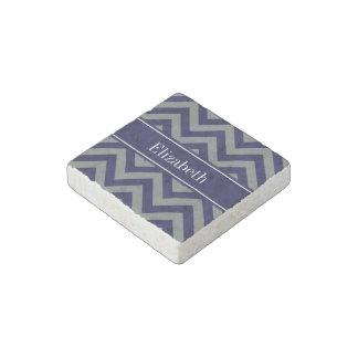 Navy, Charcoal LG Chevron Navy Blue Name Monogram Stone Magnet