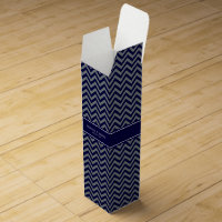 Navy, Charcoal LG Chevron Navy Blue Name Monogram Wine Gift Box