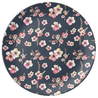 Navy Cherry Blossom Floral Porcelain Plates