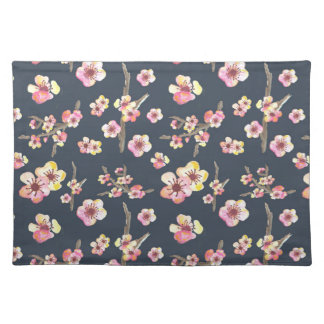 Navy Cherry Blossom Floral Cloth Placemat