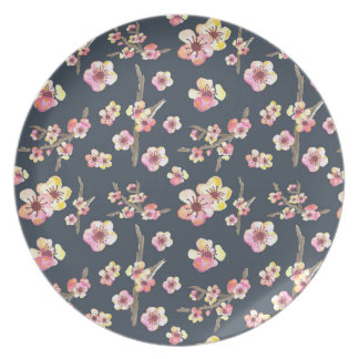 Navy Cherry Blossom Floral Party Plates