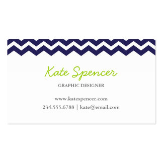 Navy Chevron and Polka Dot Double-Sided Standard Business Cards (Pack Of 100)