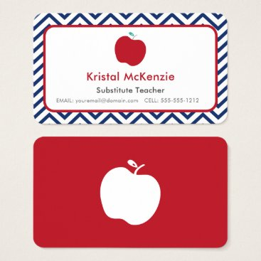 Professional Business Navy Chevron and Red Apple Teacher Business Cards