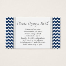 Navy Chevron Baby Shower Book Request Card at Zazzle