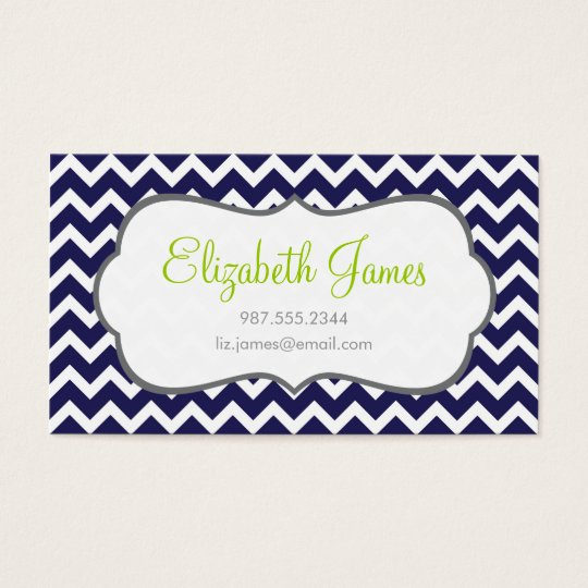 Navy Chevron Business Card