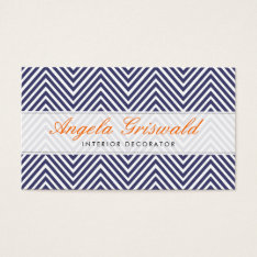 Navy Chevron Business Cards at Zazzle