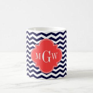 Navy Chevron Coral Red Quatrefoil 3 Monogram Tn Classic White Coffee Mug