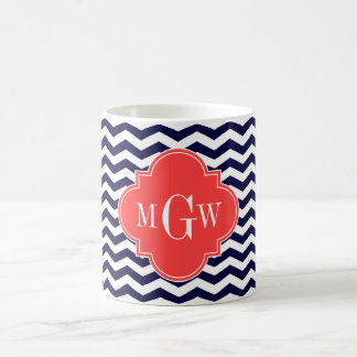 Navy Chevron Coral Red Quatrefoil 3 Monogram Tn Coffee Mug