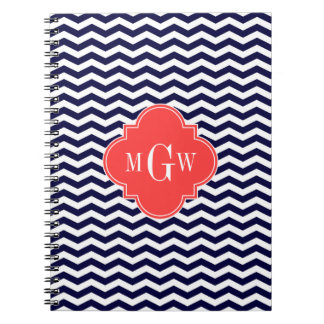 Navy Chevron Coral Red Quatrefoil 3 Monogram Tn Notebook