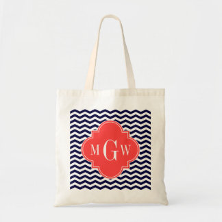 Navy Chevron Coral Red Quatrefoil 3 Monogram Tn Tote Bag