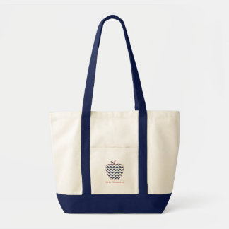 Navy Chevron & Coral Teacher Apple Canvas Bags