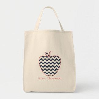 Navy Chevron & Coral Teacher Apple Grocery Tote Bag