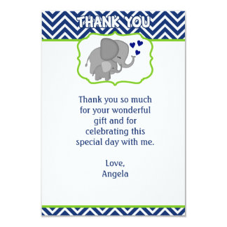 Navy Chevron Elephant Love Thank You Note (FLAT) Card