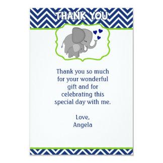 Navy Chevron Elephant Love Thank You Note (FLAT) Card