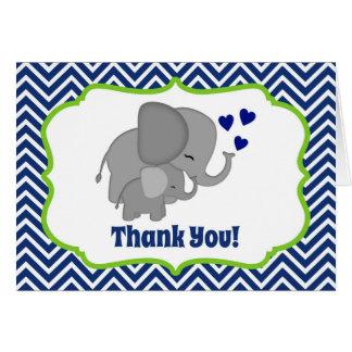 Navy Chevron Elephant Love Thank You Note FOLDING Stationery Note Card