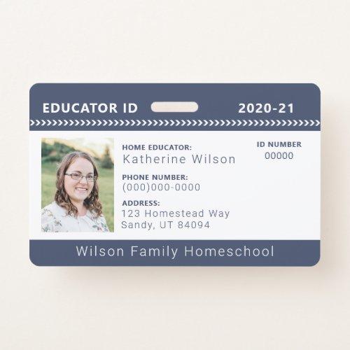 Navy Chevron Homeschool Educator ID Badge