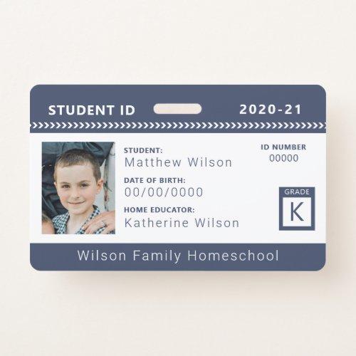 Navy Chevron Homeschool Student ID Badge