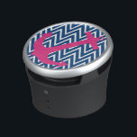 """Navy Chevron Pink Nautical Anchor Speaker<br><div class=""""desc"""">Trendy navy blue chevron zigzag and pink nautical anchor round speaker.  Makes a great gift for all occasions.  Click the &quot;Customize It!&quot; button to add text and more!</div>"""