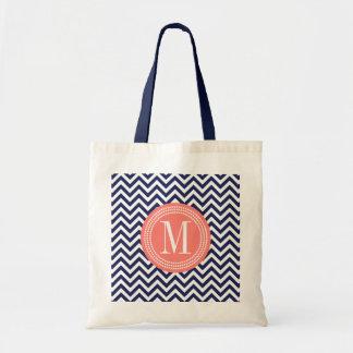 Navy Chevron Zigzag Personalized Monogram Tote Bag