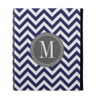 Navy Chevron Zigzag Personalized Monogram iPad Folio Cover