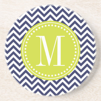 Navy Chevron Zigzag Personalized Monogram Drink Coaster