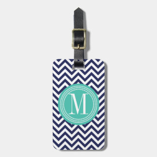 Navy Chevron Zigzag Personalized Monogram Tag For Bags