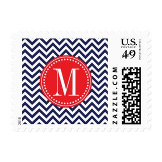 Navy Chevron Zigzag Personalized Monogram Postage Stamps