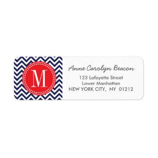 Navy Chevron Zigzag Personalized Monogram Return Address Label