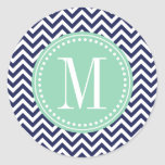 Navy Chevron Zigzag Personalized Monogram Round Sticker