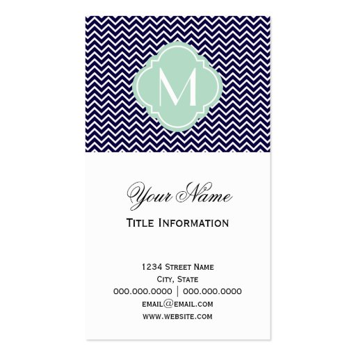 Navy Chevron Zigzag Stripes with Monogram Double-Sided Standard Business Cards (Pack Of 100)