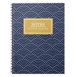 Navy Circle Wave Pattern Gold Name Template Spiral Note Books