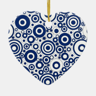 Navy Circles and Dots Ceramic Ornament