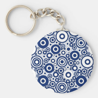 Navy Circles and Dots Basic Round Button Keychain