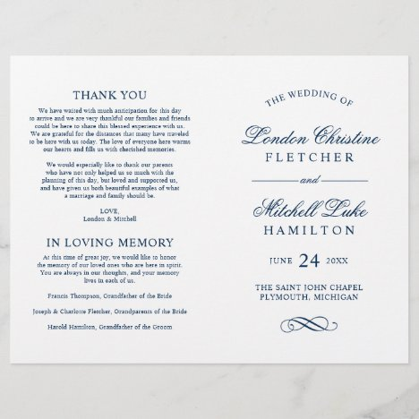 Navy Classic Elegance Wedding Ceremony White