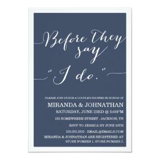 """Navy Classy Couple's Shower Invitations 5"""" X 7"""" Invitation Card"""