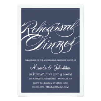 "Navy Classy Rehearsal Dinner Invitations 5"" X 7"" Invitation Card"