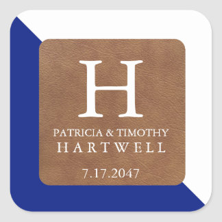 Navy Color Split Faux Leather Patch Wedding Square Sticker