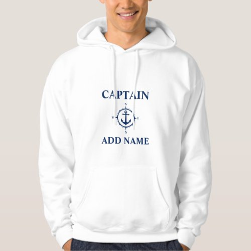 Navy Compass Anchor Captain Add Name or Boat Name Hoodie