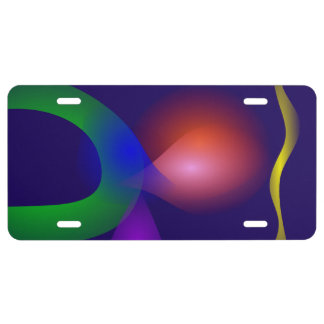 Navy Contrast Abstract Composition License Plate