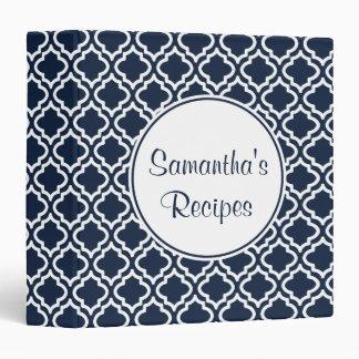 Navy Cookbook Kitchen Recipe Organizer Binder Gift