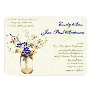 Navy Copper and Green Mason Jar Wild Flower 5x7 Paper Invitation Card