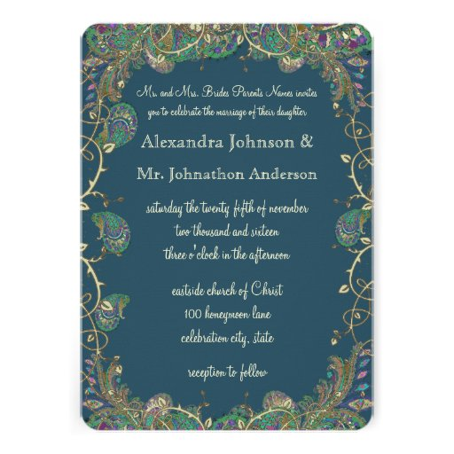 Navy Copper And Green Paisley Peacock Wedding Personalized