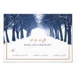 Navy Copper Winter Trees Avenue Wedding RSVP Card